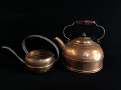 LOT INCLUDES A COPPER TEA KETTLE AND A SMALL COPPER CAN.