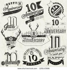 Vintage style 10 anniversary collection. Ten anniversary design in retro style. Vintage labels for anniversary greeting. Hand lettering styl...