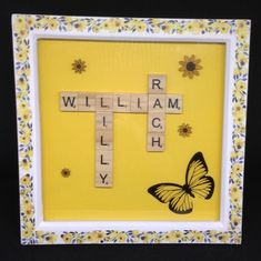 Wooden scrabble letters which can be personalised with any name,max 10 letters, on a yellow background. With a butterfly & hand painted wooden sunflowers. Please note butterfly shape & size may vary slightly. Scrabble Letters, Butterfly Shape, Mothers Day Presents, Yellow Background, Sunflowers, Gift Guide, Hand Painted, Shapes, Amp