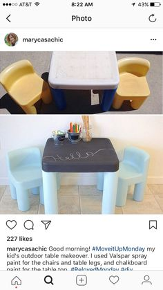 Idea Diy Toys, Diy Yard Toys, Backyard Toys For Kids, Outdoor Toys For Toddlers, Kids Picnic Table, Toddler Table And Chairs, Baby Hacks, Paint For Plastic, Chalkboard Paint