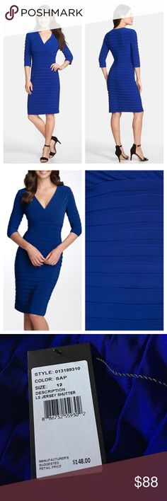 LAST CHANCE ❤️Adrianna Papell blue sheath dress Brand new with tag! Size 12. Beautiful sapphire blue. The sleeves aren't quite as long as the stock picture (see the last picture) but this dress is super flattering and great for weddings, graduations, a date night out, you name it! Adrianna Papell Dresses
