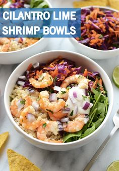 Take a tip from the spring sunshine and lighten up your lunch with this Cilantro Lime Shrimp Bowl recipe. Made with brown rice, homemade coleslaw, freshly grilled shrimp, and Greek yogurt dressing, this meal is a delicious and healthy way to fuel up for the afternoon!