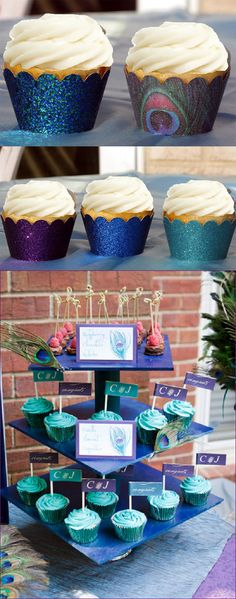 LMK Gifts captures the elegance and richness of the peacock feather plumes with our one-of-a-kind stunning PEACOCK Wedding Cupcake Wrappers! Peacock Wedding, Purple Wedding, Diy Wedding, Peacock Theme, Wedding Ideas, Peacock Blue, Party Wedding, Teal Blue, Wedding Stuff