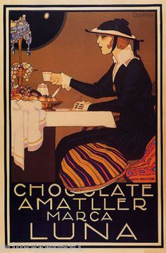 Chocolate Fashion Amatller Luna Vintage Repro Poster | eBay