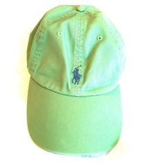 [POLO] green hat Green hat with blue horse. One size. Adjustable leather strap. Perfect condition. Polo by Ralph Lauren Accessories Hats