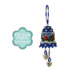 Bead Pattern: Christmas Scene Bell Ornament от ThreadABead на Etsy