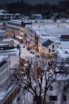 Downtown at dawn.. Mackinac Island, Michigan - December 29, 2015 - Photo by Poppins