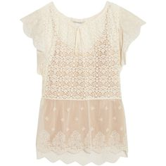 Stella McCartney Lace and embroidered tulle blouse (26.530 ARS) ❤ liked on Polyvore featuring tops, blouses, ivory, floral print blouse, floral lace top, floral blouse, lace camis and lace blouse
