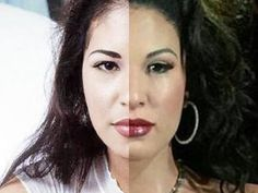 Selena wax figure on right and pic on left.