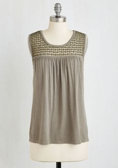 Overnight Oats Top in Taupe. Assembling your favorite morning snack looks all the more chic when you sport this jersey knit tank - part of our ModCloth namesake label! #grey #modcloth