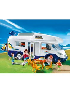 Playmobil Family Motorhome 4859 comes equipped for road tripping adventures, with removable roof and side wall, foldable table, swivel seat, bikes, bike rack, rooftop storage for all summertime gear. Includes family Playmobil figures