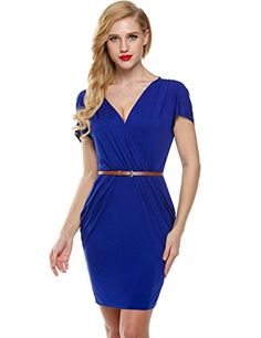 Meaneor Women's V Neck Short Sleeve Elastic Waist Draped Wrap Bodycon Dress,(Blue XL) *** Find out more details @