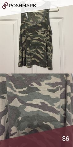 Camouflage Tank Top 🌻 Very cute and never worn. Falls about two inches below the belly button. Tops Tank Tops