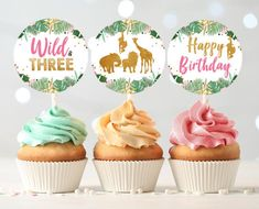 Wild and Three Cupcake Toppers Favor Tags Birthday Party | Etsy 2nd Birthday Party For Girl, First Birthday Cupcakes, Fourth Birthday, Birthday Ideas, 1st Birthday Party Favors, Twin Birthday, Birthday Cards, Safari Cupcakes, Fondant Cupcakes