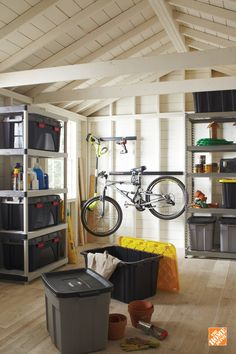Garage Storage - The Home Depot Organizing your garage may seem like a daunting task. But with some plastic storage bins and shelvi Organization, Home Organization, House, Home Projects, Home, Garage Organization, New Homes, Home Diy, Storage