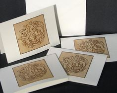 greeting cards  pyrography  celtic seahorse blank by bkinspired, $18.00