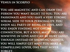 VENUS IN SCORPIO.  #Zodiac #Astrology For related posts, please check out my FB page:  https://www.facebook.com/TheZodiacZone