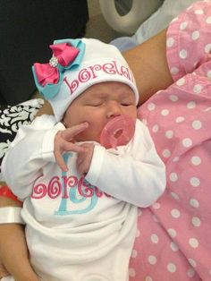 The Lorelai  Hot Pink and Aqua Layette Gown Set  by ToBeStitched, $43.00