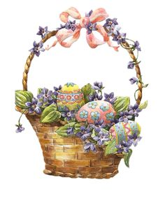 Easter Basket with Eggs Clipart