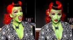 10 Spooky Makeup Looks for the Halloween Fanatic Frankenstein Makeup, Frankenstein Costume, Bride Of Frankenstein, Halloween Makeup Looks, Scary Halloween, Halloween Ideas, Halloween Hair, Halloween Crafts, Halloween Costumes