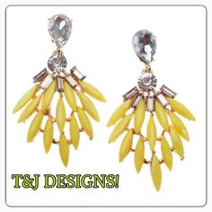 """T&J DESIGNS EARRINGS! Now in stock! T&J DESIGNS """"Yellow Feather"""" EARRINGS NOW IN STOCK. FIVE (5) pairs available. See photos ⏫ for description. ⛔️PRICE FIRM⛔️. T&J Designs Jewelry Earrings"""