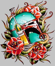 Boba Fett tattoo flash hahaha legit for myself you know star nerd I am ; War Tattoo, Tattoo Bein, Star Wars Tattoo, Boba Fett Tattoo, Tatuagem Old School, Latest Tattoos, Cool Tats, Awesome Tattoos, Flash Art