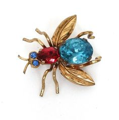 Vintage Insect Bug Pin Brooch Czech Glass Rhinestones Gold Metal Fun Figural Signed Czechoslovakia 1940s Jewelry