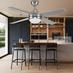 Proud brushed nickel ceiling with four plywood blades Plywood Ceiling, Timber Ceiling, Elegant Ceiling Fan, Modern Ceiling, Decorative Ceiling Fans, 52 Inch Ceiling Fan, Metal Canopy, Wood Screws, Particle Board