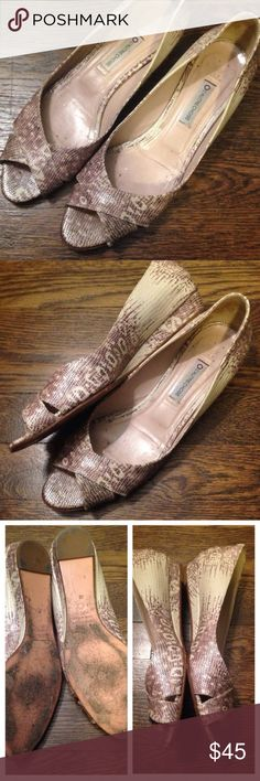 🎉Chic Peep-Toe Flats from L'Autre Chose Beautiful and classic snakeskin patterned leather peep toe flats.  🌟Condition: Very good used condition.  📐Size: French size 40, fits like a 9.5 US 👗Style: Peep-toe with a slight approximately 1/2 inch wedge.  💎Material: Snakeskin patterned 100% leather with a slightly iridescent sheen. L'Autre Chose Shoes Flats & Loafers