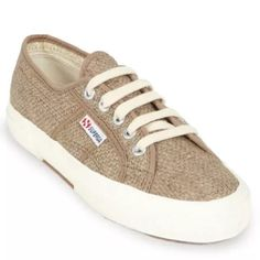 """Superga Raffia Cuto Sneakers Canvas Size 5 Beige Details:  - Round toe  - Lace-up vamp  - Rafia construction  - Topstitched detail  - Color - LT Brown Materials:  Canvas and rafia upper, rubber sole Additional Info:  Sizing is Italian: the insole measures exactly 9"""". Superga Shoes Sneakers"""