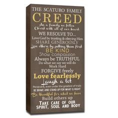 family creed canvas custom