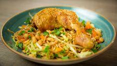 Nudelsalat Frisk, Food And Drink, Salad, Dishes, Chicken, Noodle Salads, Tablewares, Tableware, Salads