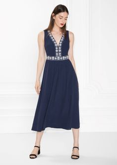 & Other Stories   Embroidery Maxi Dress
