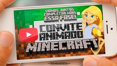 Convite Animado Minecraft Grátis Pronto para Baixar Minnie, Youtube, Minecraft Birthday Party, Neon Birthday, Youtubers, Youtube Movies