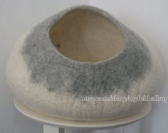 Natural Handmade felt cat bed/cat cave manufactured in our small workshop at Kathmandu from undyed natural felt wool from New Zealand.  Gradient grey. $65.00