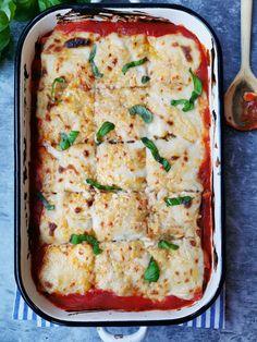 Ricotta, Veggie Dinner, Linguine, Lasagna, Vegetarian Recipes, Good Food, Food And Drink, Vegetables, Cooking