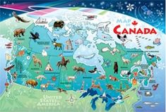 Canada Map - Tray Puzzle by Cobble Hill Visual Cue, Floor Puzzle, States In America, Games For Kids, Jigsaw Puzzles, Tray, Gift Wrapping, Canada, Flooring