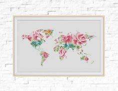 Floral world map cross stitch pattern