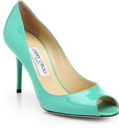 Jimmy Choo Evelyn Patent Leather Peep-Toe Pumps in Green (PEPPERMINT)