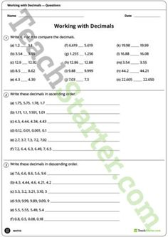 Decimals Worksheet – Comparing and Ordering Decimals Worksheets, Primary Classroom, Fractions, Teaching Resources, Names, Printables, Activities, Writing, Math