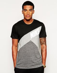 Image 1 of Nike Colourblock T-Shirt Nike Outfits, Casual Outfits, Men Casual, Fashion Outfits, New T Shirt Design, Shirt Designs, Nike Trends, Nike Football, Herren T Shirt