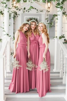 Long Maxi Wrap Convertible Bridesmaid Dress Weddings Dresses Bridesmaiddresses Weddingideas Pink