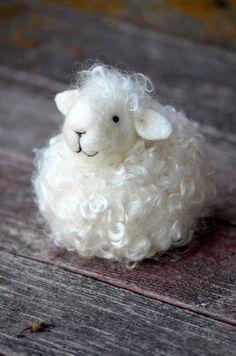 Sheep White wool needle felted lamb needle by BearCreekDesign