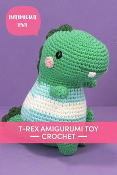 Make the cutest t-rex amigurumi with this fang-tastic pattern by Irene Strange! Bernard is the plushy Halloween DIY toy that you'll love all year round. Make Bernard in continuous pieces without joining, using single and double crochet stitches. | Downloadable PDF at LoveCrafts.com Crochet Stitches, Crochet Patterns, Crochet Hats, Cute T Rex, Paintbox Yarn, Little Monsters, Amigurumi Toys, Diy Toys, Double Crochet