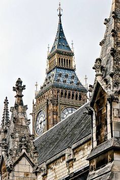 Clock tower rising over Westminster, London, England