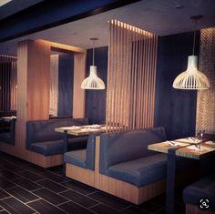 Restaurant Booth Seating, Deco Restaurant, Restaurant Lighting, Restaurant Layout, Restaurant Ideas, Lounge Design, Cafe Design, Design Design, Design Ideas