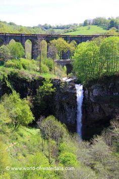 Closer look at the falls and bridges (Cascade de Salins) Cantal, Auvergne, France