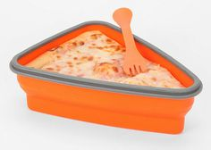 It will hold two slices when expanded (even has a divider), then easilycollapse for storage and portability when empty. $16