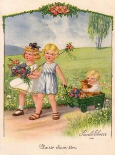 Pauli Ebner — Old Post Cards Vintage Pictures, Vintage Images, Artists For Kids, Poster Pictures, Vintage Greeting Cards, Cute Illustration, Kids Cards, Vintage Children, Vintage Postcards