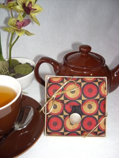 Tea Bag Travel Wallet - Circles in Squares, $9.95